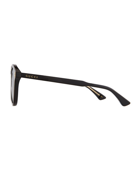 Vintage Round Acetate Sunglasses, Black