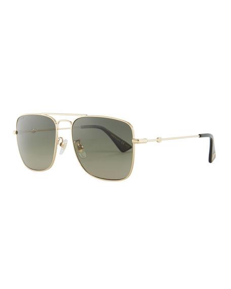Gucci Polarized Square Aviator Sunglasses, Gold