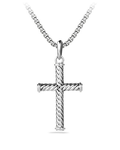Men's 39mm Sterling Silver Cable Cross Pendant