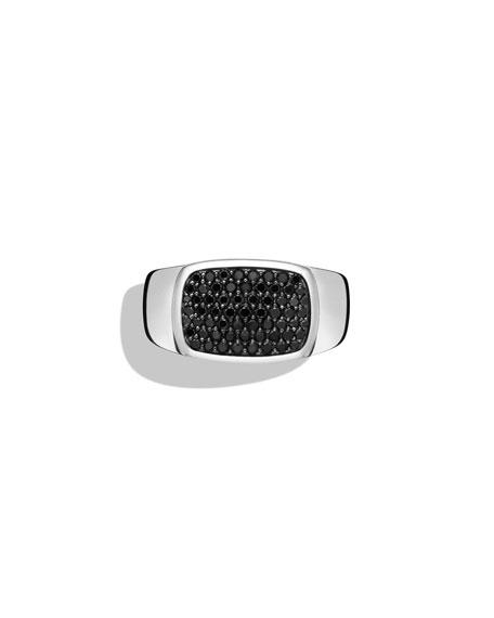 David Yurman Men's East-West Signet Ring with Black Diamonds, Size 10