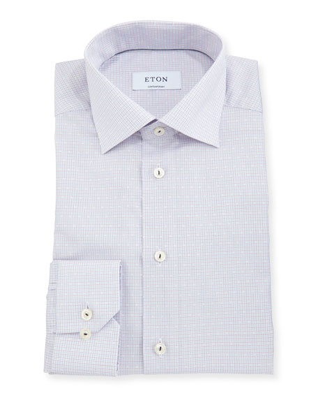 Contemporary-Fit Micro-Dobby Check Dress Shirt