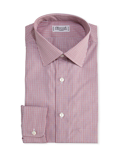 Mini-Check Cotton Dress Shirt