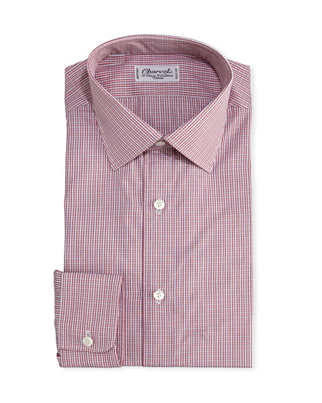 Charvet Mini-Check Cotton Dress Shirt