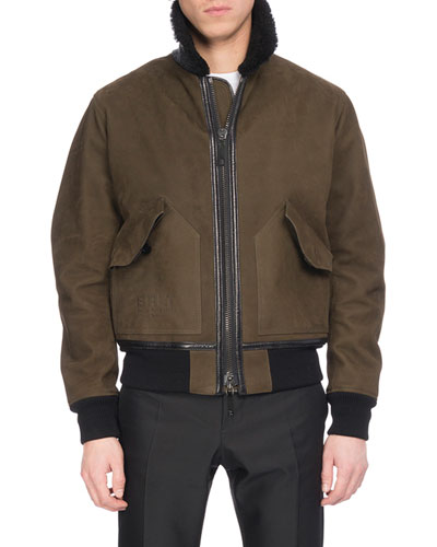 Leather Bomber Jacket with Shearling Fur Collar