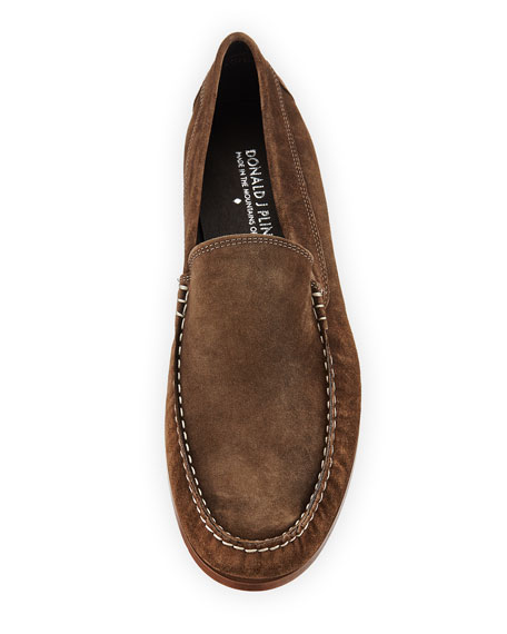 Nate Distressed Suede Moc-Toe Loafer