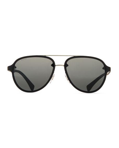 Linea Rossa Men's Aviator Sunglasses, Black