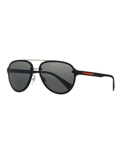 Linea Rossa Men's Aviator Sunglasses, Black