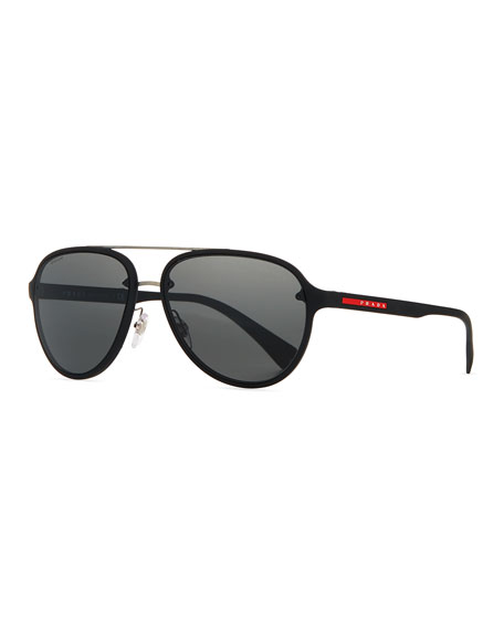 Prada Linea Rossa Men's Aviator Sunglasses, Black
