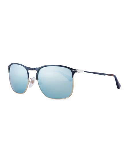 Persol PO7359S Mirrored Rectangular Sunglasses, Blue