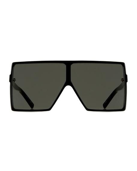 183 Betty Flat-Top Square Shield Sunglasses