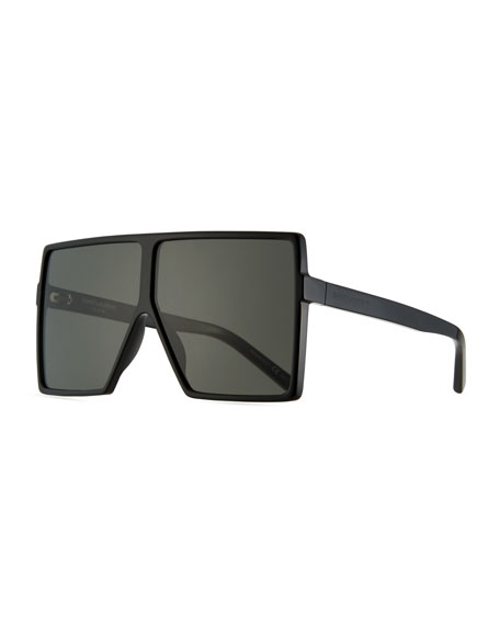 Saint Laurent 183 Betty Flat-Top Square Shield Sunglasses