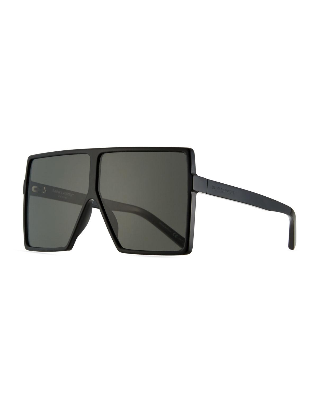 2f625bdc757 Saint Laurent 183 Betty Flat-Top Square Shield Sunglasses