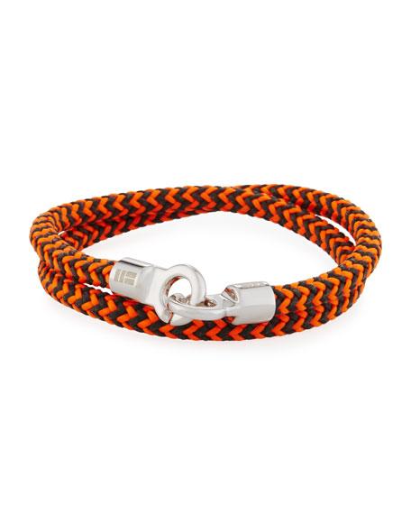 Men's Double Tour Braided Wrap Bracelet, Orange