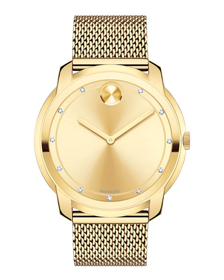 44mm Bold Watch with Diamond Markers, Gold