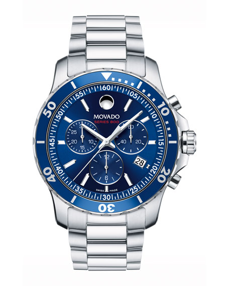 Movado Series 800 Chronograph Watch, Gray/Blue