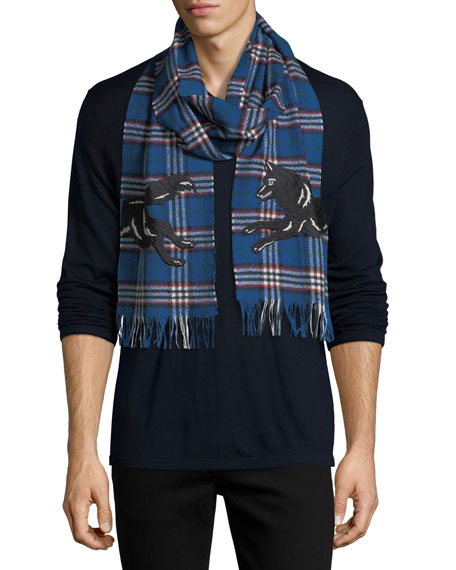 Gucci Check Wool Scarf with Wolf