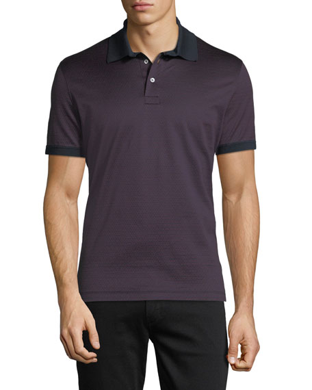 Men's Gancino-Jacquard Knit Polo Shirt