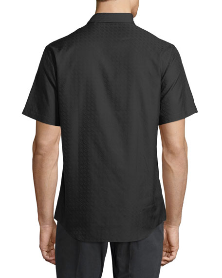 Men's Gancini-Jacquard Short-Sleeve Sport Shirt, Black
