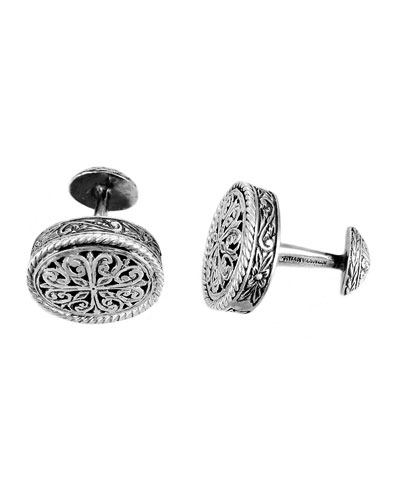 Carved Silver Cuff Links