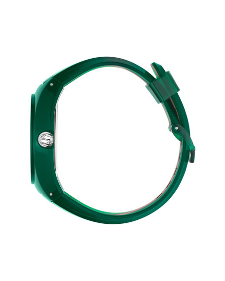 46mm Gucci Sync Sport Watch w/ Rubber Strap, Green/Red