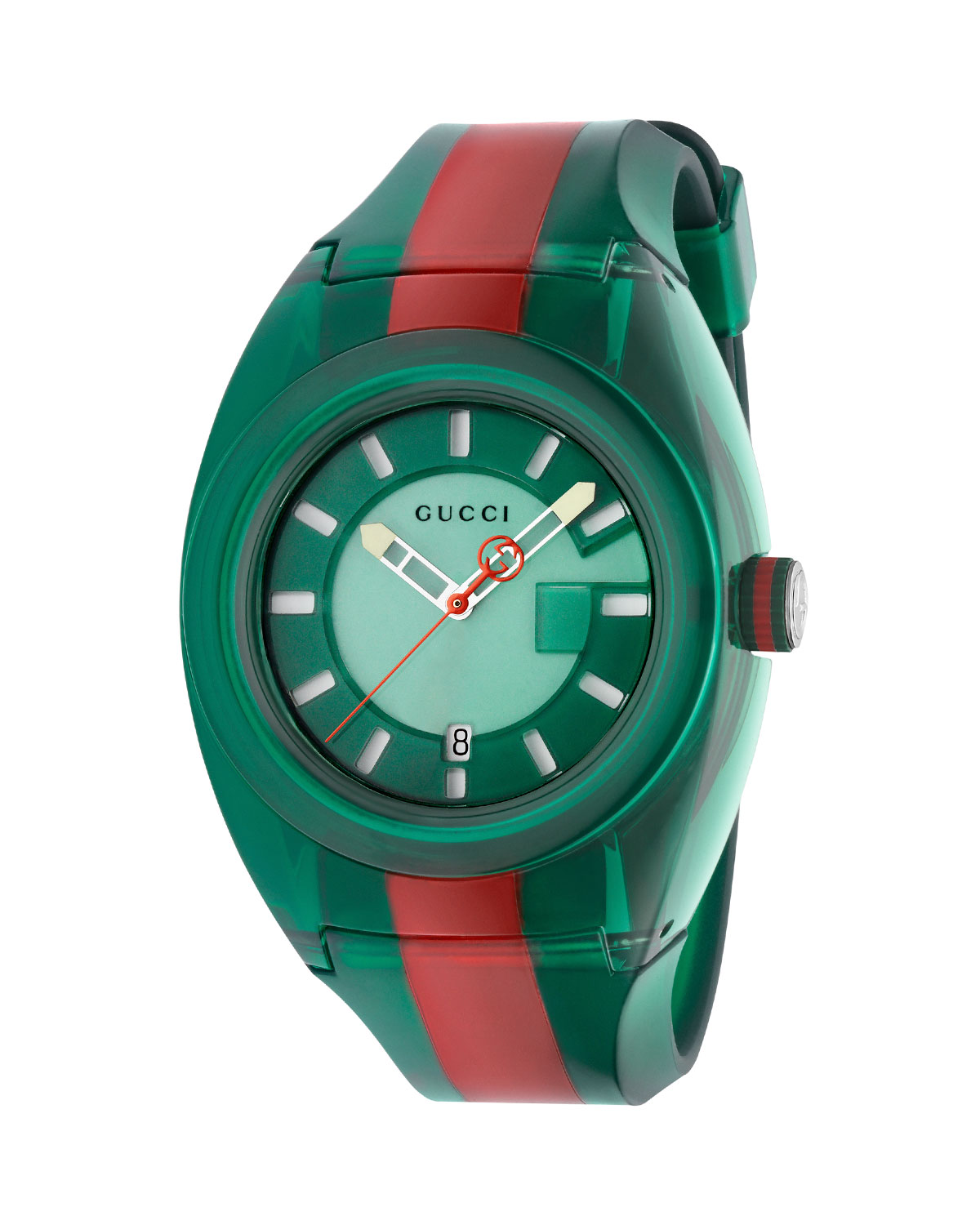 gucci 46mm gucci sync sport watch w rubber strap green red