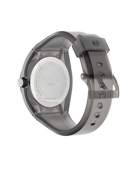 46mm Gucci Sync Sport Watch w/ Rubber Strap, Gray