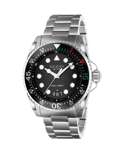 d32c4f4233c Gucci 45mm Gucci Dive Stainless Steel Bracelet Watch