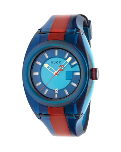 46mm Gucci Sync Sport Watch w/ Rubber Strap, Blue/Red