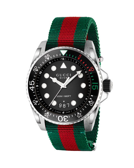 Gucci 45mm Gucci Dive Watch w/ Nylon Web