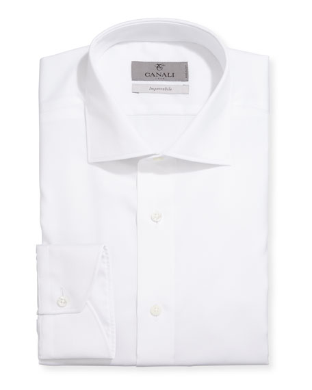 Canali Impeccabile Modern-Fit Textured Solid Cotton Dress Shirt