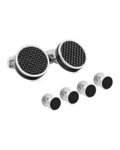 Round Carbon Fiber Cuff Links & Stud Set