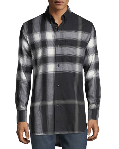Burberry Urban Check Cotton Flannel Shirt, Black