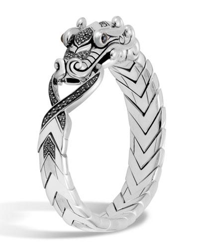Men's Legends Naga Dragon Sterling Silver Bracelet with Spinel