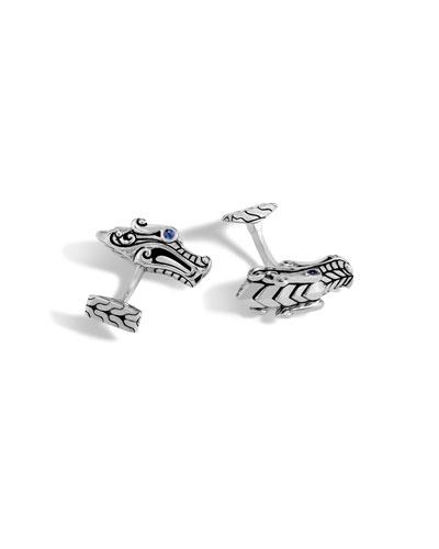 Men's Legends Naga Dragon Sterling Silver Cuff Links
