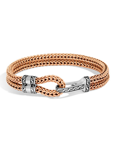 Men's Classic Chain Sterling Silver & Bronze Station Bracelet