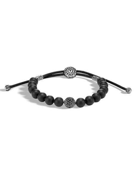 Men's Classic Chain Sterling Silver & Onyx Bead Bracelet