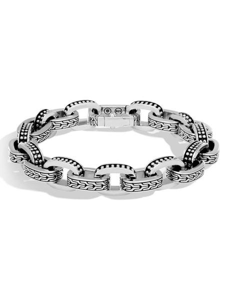 Men's Classic Chain Link Jawan Sterling Silver Bracelet