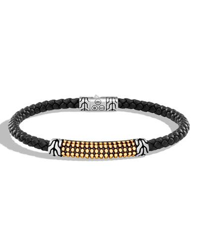 Men's Classic Chain Braided Leather Jawan Bracelet