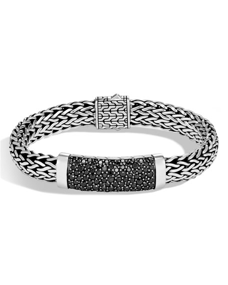 Men's Classic Chain Sterling Silver Bracelet with Black Sapphires