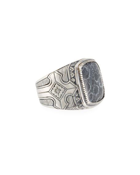 Konstantino Heonos Men's Square Black Coral Ring