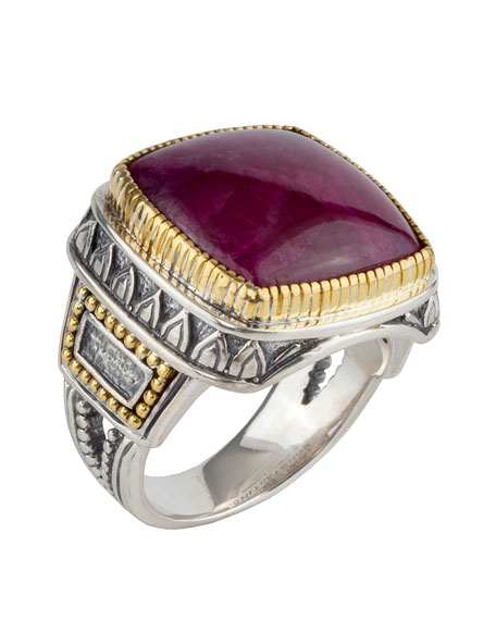 Men's Sterling Silver & 18K Gold Signet Ring with Ruby Root