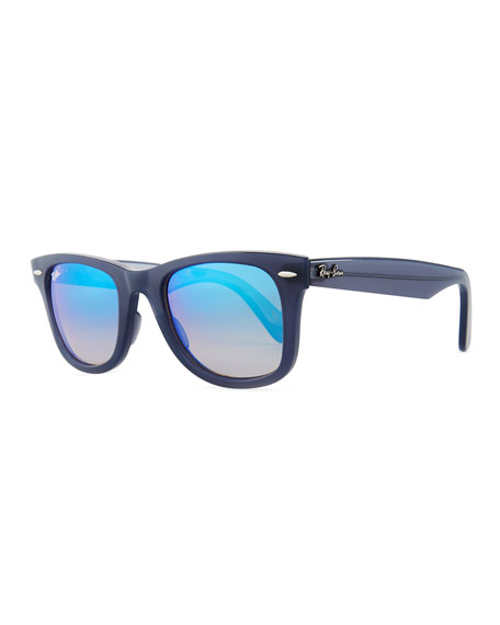 Metal Navigator Sunglasses, Black/Blue Mirror