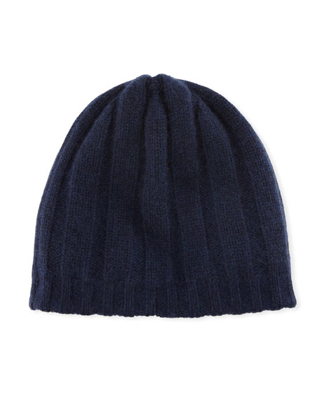 Reversible Knit Cashmere Beanie Hat