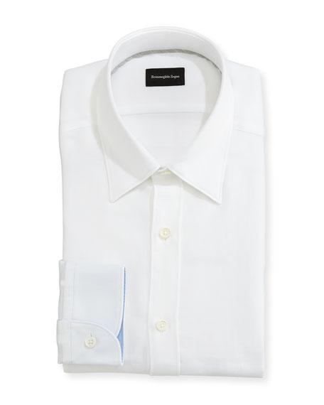 Ermenegildo Zegna Woven Mesh Dress Shirt, White