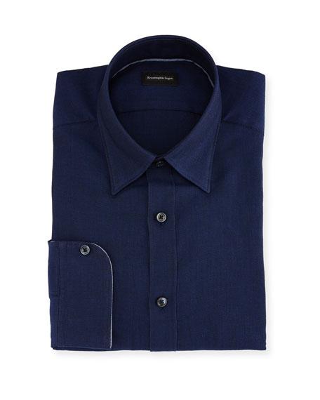 Ermenegildo Zegna Woven Mesh Dress Shirt, Navy