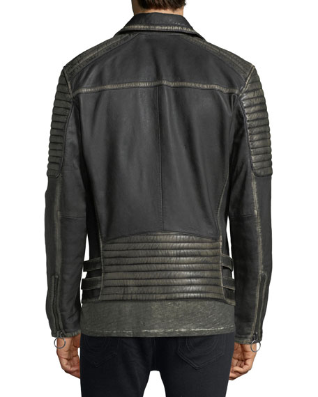 Aged Leather Biker Jacket