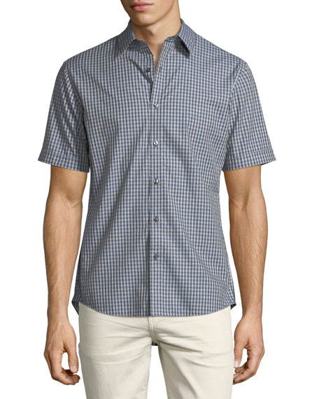 Image 1 of 2: Slim-Fit Check Cotton Short-Sleeve Shirt