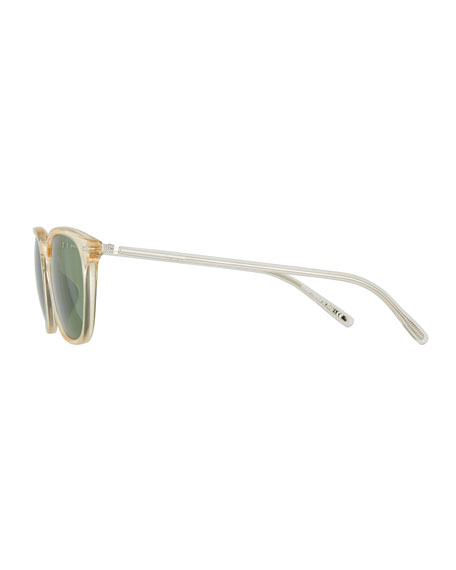 Heaton Square Acetate Sunglasses, Buff/Green