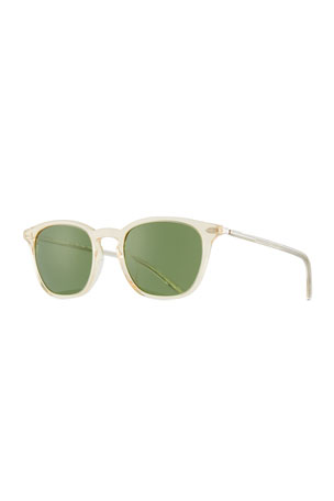 Oliver Peoples Heaton Square Acetate Sunglasses, Buff/Green