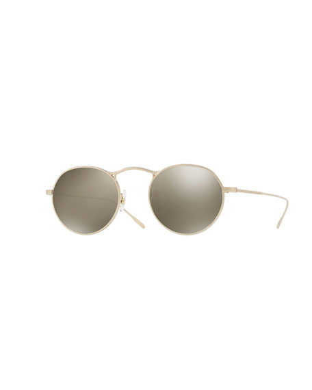 M-4 30th Anniversary Round Sunglasses, Gray Goldtone/Gold